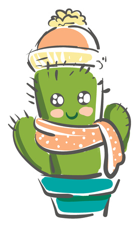 Cactus in warm winter clothes vector or color illustration Stock Illustratie
