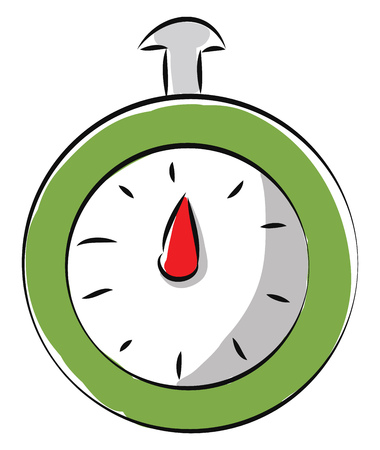 Simple vector illustration of a green stopwatch white background Illustration