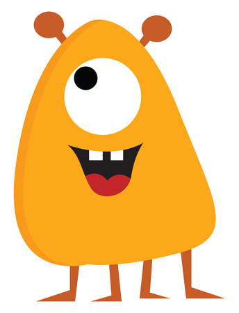 Yellow and orange monster with four legs and one eye illustration print vector on white background Çizim