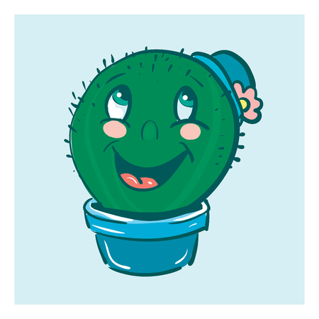 Smiling cactus with hat vector or color illustration