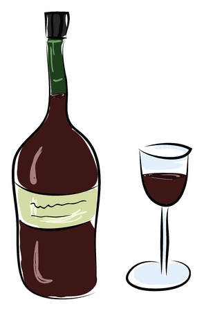 A red wine bottle with glass vector or color illustration