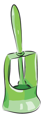 Vector illustration of a green toilet brush white background Çizim