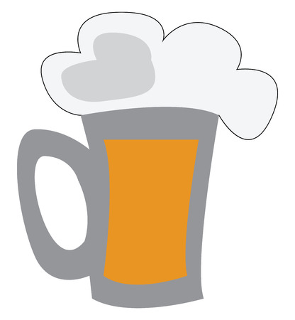 Beer mug with beer vector or color illustration
