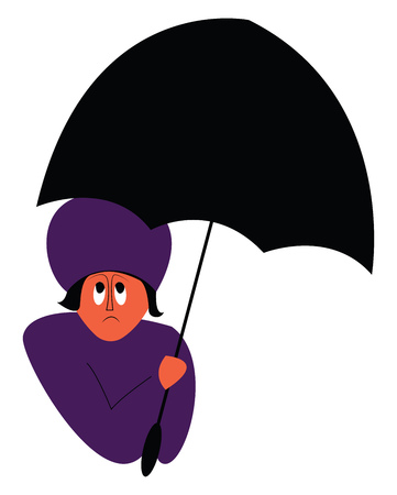 A person with umbrella vector or color illustration