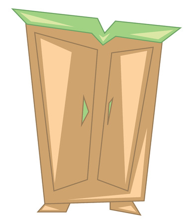 A wooden wardrobe vector or color illustration