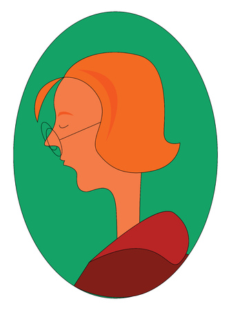 Profil d'une femme au gingembre avec des lunettes rondes à l'intérieur de l'illustration vectorielle ellipse verte sur fond blanc