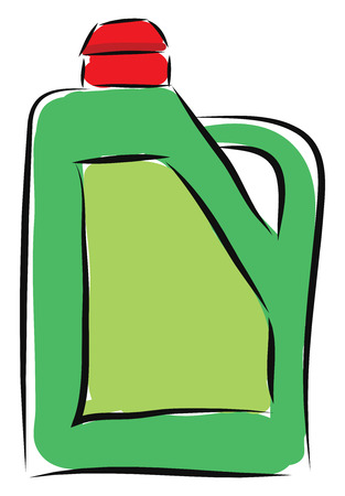 Cartoon green canister of acid vector illustration on white background