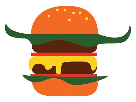 Simple cartoon big burger vector illustration on white background