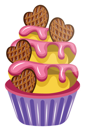 Colorful cupcake with cookies illustration vector on white background
