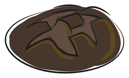Simple cartoon black bread vecot illustration on white background Ilustrace