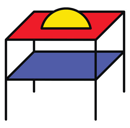 A colorful wroth iron table vector or color illustration