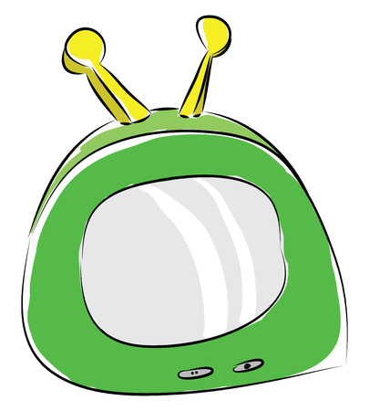 Cartoon of a green portable tv with yellow antennas vector illustration on white background Imagens - 123410619