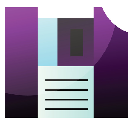 Purple floppy disk simple vector illustration on a white background