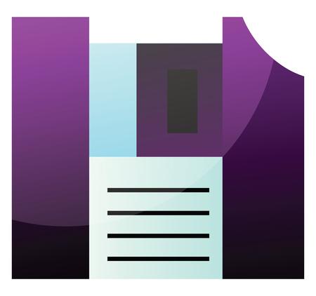 Purple floppy disk simple vector illustration on a white background Stok Fotoğraf - 123410621