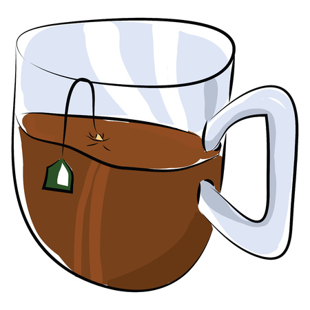 A half-filled tea cup vector or color illustration