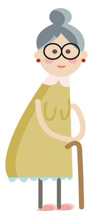 Old lady walking with stick vector or color illustration