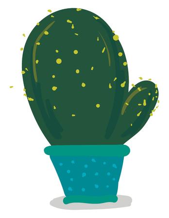 Big cactus in blue flower pot vector or color illustration Illustration
