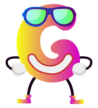 Pink letter G with sunglasses vector illustration on white background