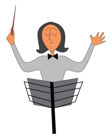 Portrait of an orchestra conductor vector illustration on white background