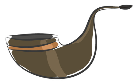 Brown tobacco pipe with an orange stripe vector illustration on white background Vectores