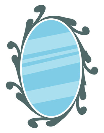 Mirror with decorative frame vector or color illustration
