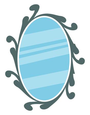 Mirror with decorative frame vector or color illustration Stok Fotoğraf - 123410670