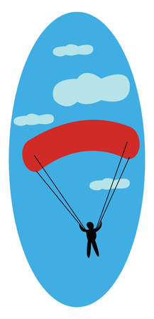 A red parachute vector or color illustration Illustration