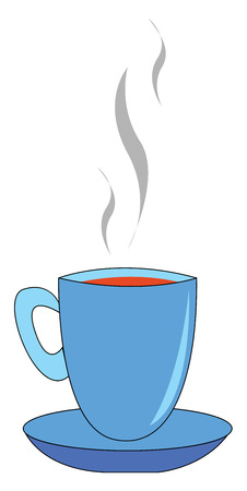 Blue cup full of tea vectro illustration on white background