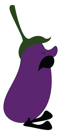 Cartoon eggplant with mustache vector illustration on white background