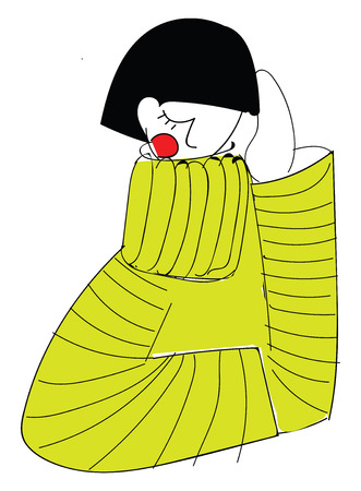 Girl wearing yellow knitted sweater basic RGB vector on white background