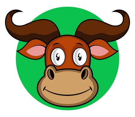 Smiling cartoon buffalo vector illustartion on white background