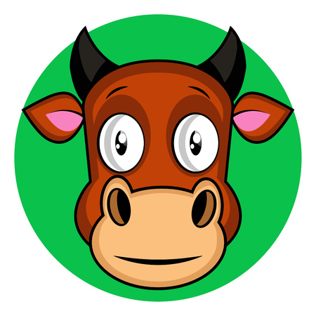 Cartoon brown cow vector illustration on white backgorund
