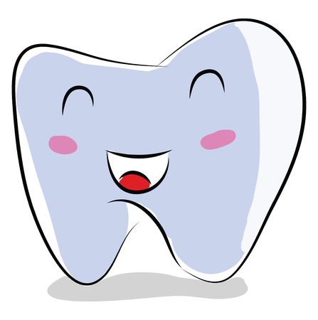 Cartoon of a smiling tooth vector illustration on white background