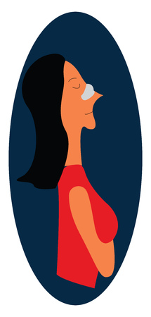 Lady with nose job vector or color illustration
