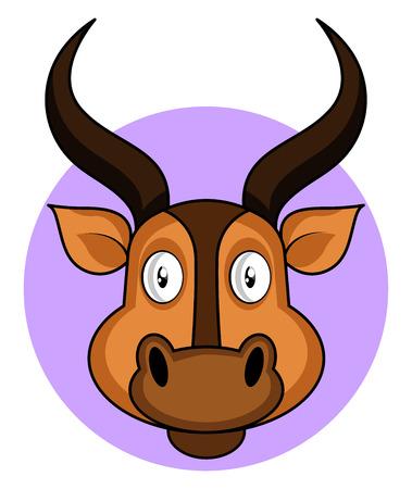 Cartoon brown deer vector illustration on white backround Ilustração