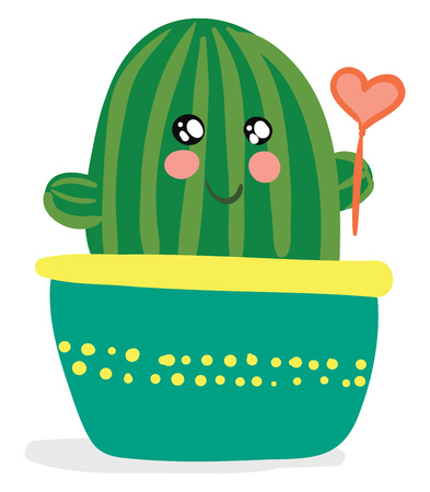 Cactus with heart shape balloon vector or color illustration
