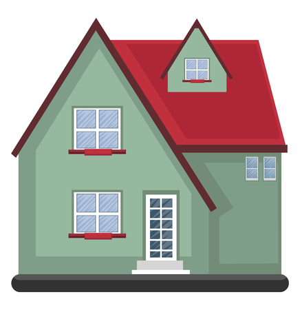 Cartoon green building with red roof vector illustartion on white background