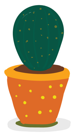 Green cactus in yellow flower pot vector or color illustration