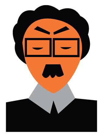 Professor wearing square eyeglass vector or color illustration
