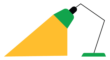 A green table lamp vector or color illustration