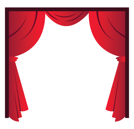Red curtains simple vector illustration on a white background Banque d'images - 121020002