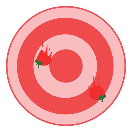Tomato dart board game vector or color illustration Ilustração