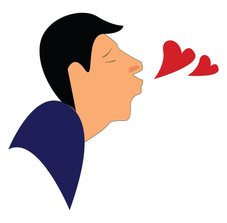 A man blowing kiss vector or color illustration