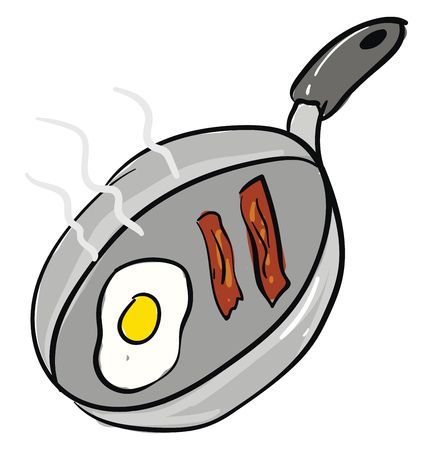 Bacon and eggs frying in a pan vector illustration on white background Stock Illustratie