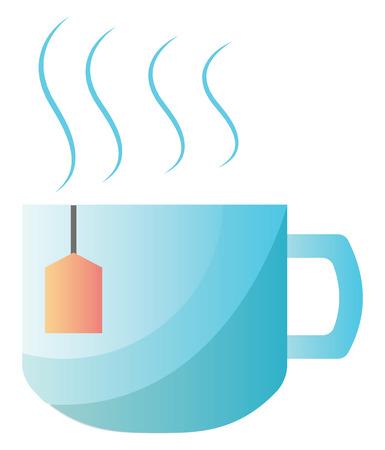 Light blue tea cup vector illustration on white background