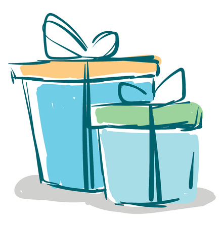 Two blue gift boxes vector or color illustration