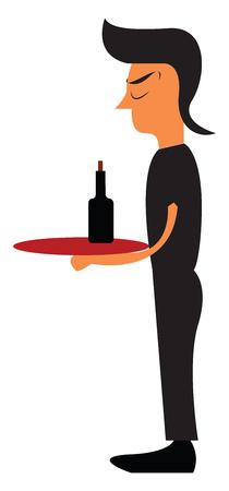 A waiter in black uniform vector or color illustration