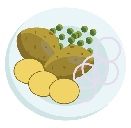 Vector illustration of a plate with potatos beans and onions on a white background Illustration