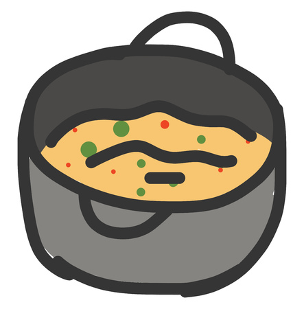 Simple vector illustration on white background of a saucepan