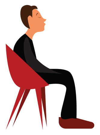 Young boy in lounge chair vector or color illustration